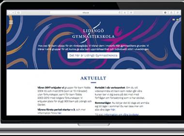 Ny webb med ny formgivning och e-handel för Lidingö gymnastikskola